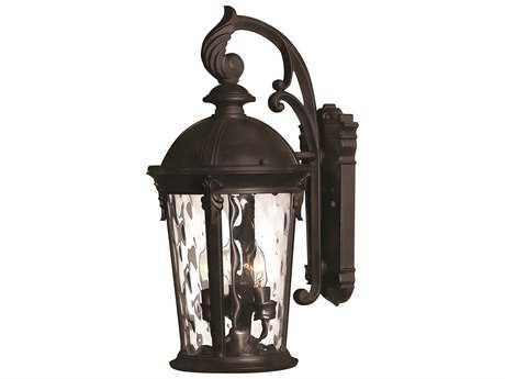 Hinkley Lighting Windsor Black Three-Light Incandescent Outdoor Wall Light