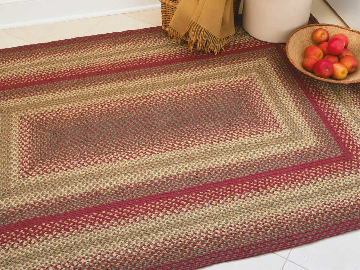 Homespice Decor Jute Braided Rugs Red Gold Brown Green Rectangular Area Rug Cider Barn Red Rec