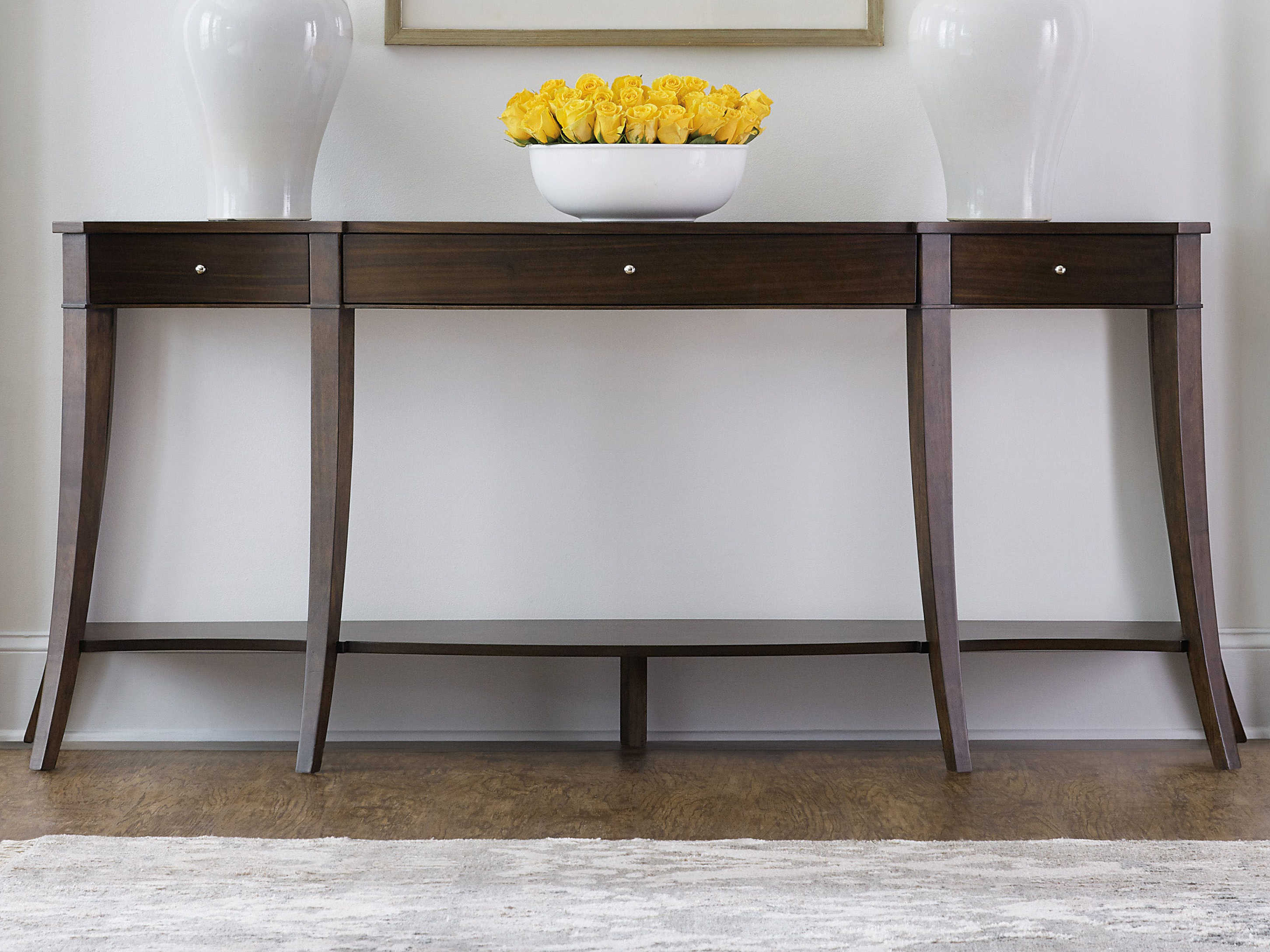 low priced 973e5 60e47 Hooker Furniture Dark Wood 79'' Wide Demilune Console Table
