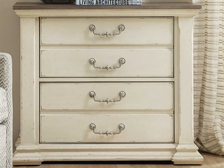 Hooker Furniture Accent Distressing Cream / Pewter File Cabinet