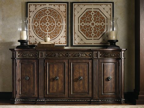 Hooker Furniture Adagio Rich Dark with Gold Tipping 96''L x 20''W Rectangular Credenza Buffet HOO509185001
