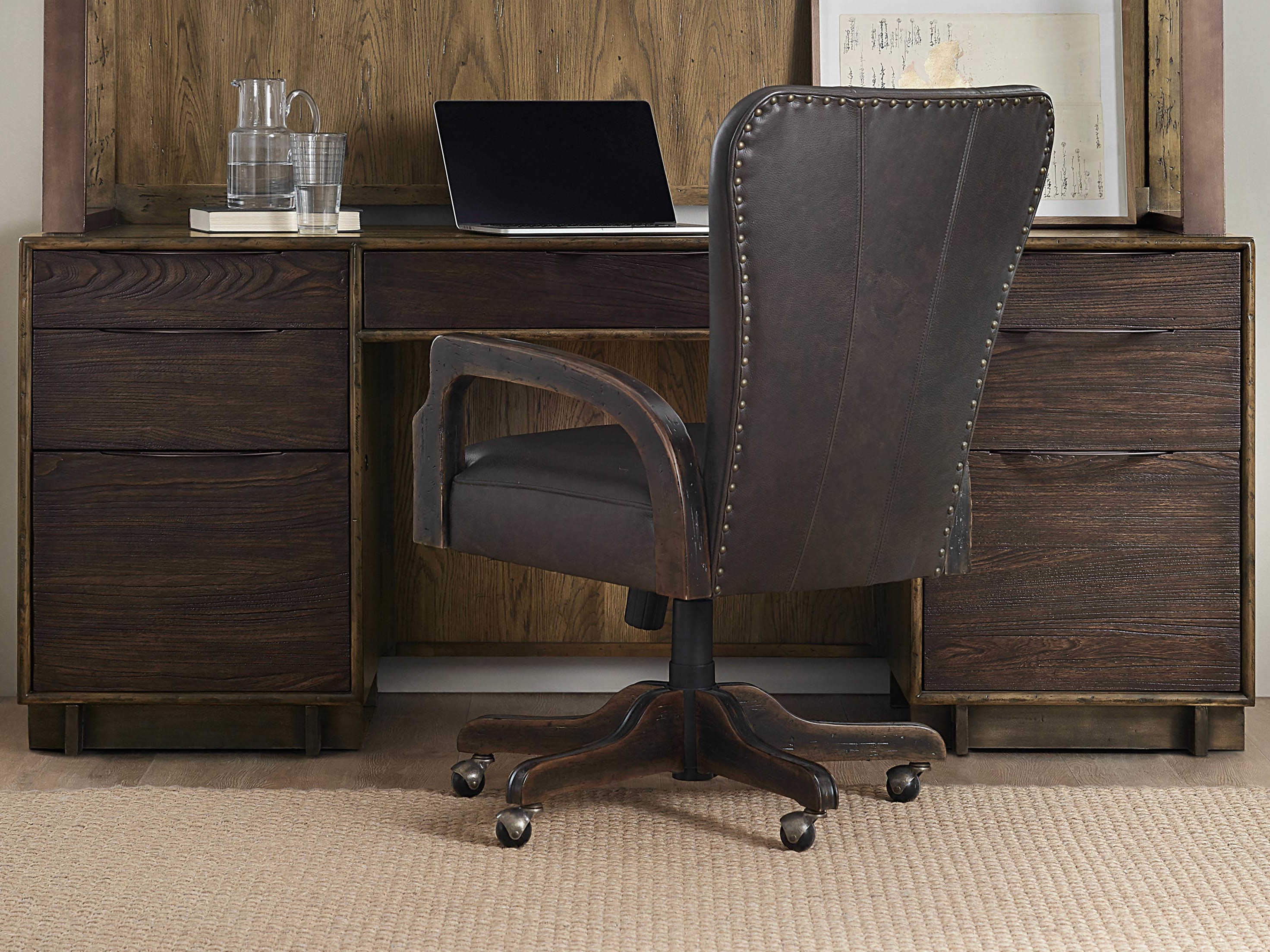 Hooker Furniture American Life - Crafted Dark Wood Credenza Desk
