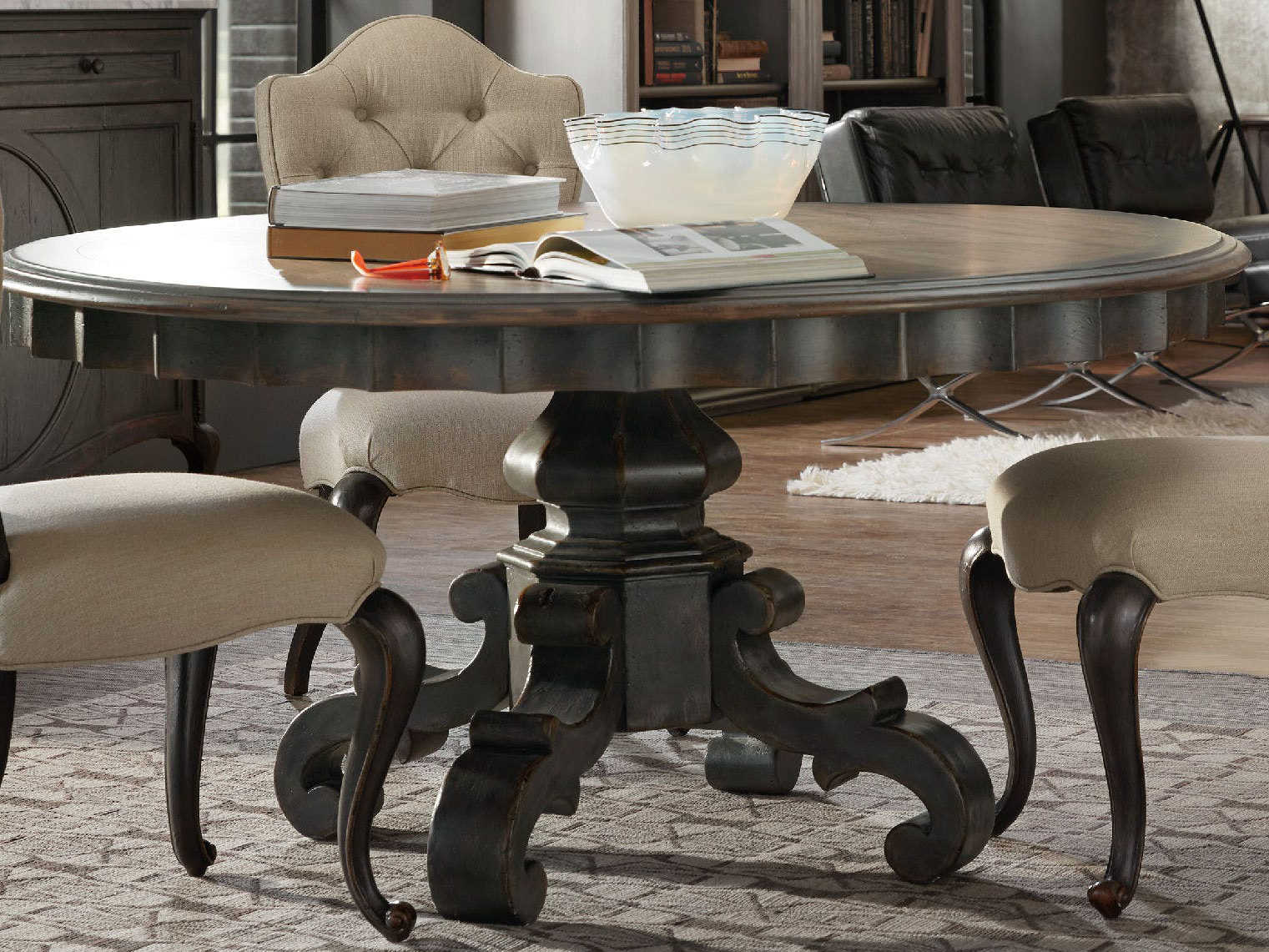 Picture of: Hooker Furniture Arabella Warm Wood Gray 60 Wide Round Pedestal Dining Table Hoo161075201gry