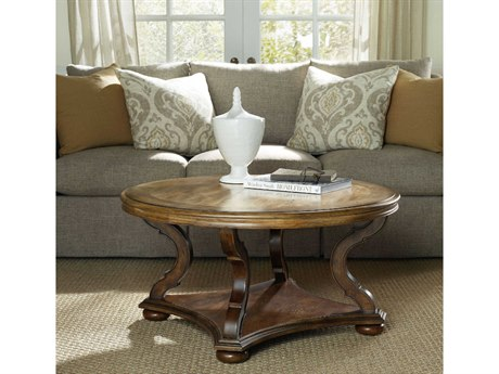 Hooker Furniture Archivist Toffee with Pecky Pecan 38'' Wide Round Cocktail Table
