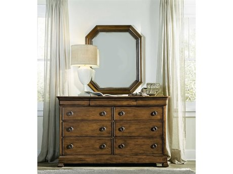 Hooker Furniture Archivist Dark Wood Nine-Drawers Double Dresser with Mirror Set