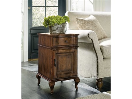 Hooker Furniture Archivist Pecky Pecan 15''L x 18''W Rectangular Accent Chairside End Table