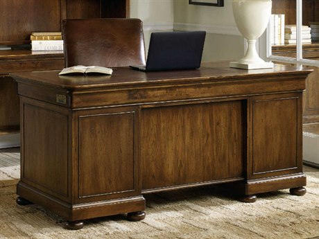 Hooker Furniture Archivist Dark Wood 66''L x 32''W Rectangular Executive Desk