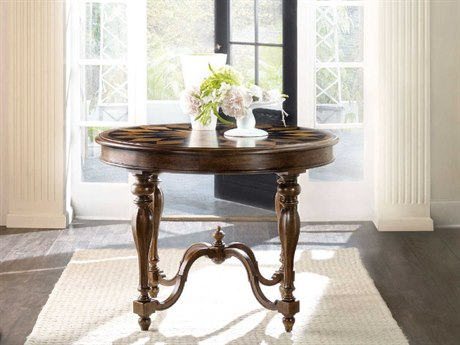 Hooker Furniture Archivist Pecky Pecan with Ebony Inlay 40'' Wide Round Center Foyer Table HOO544785007
