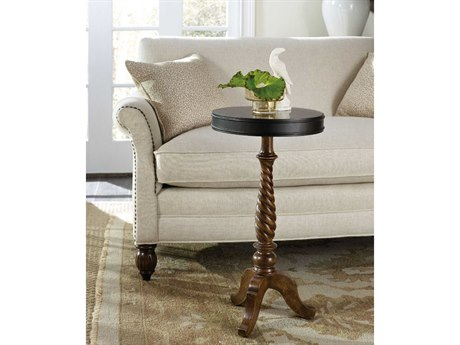 Hooker Furniture Archivist Bluestone with Pecky Pecan 14'' Wide Round Candlestick Pedestal Table HOO544750004