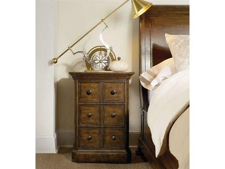Hooker Furniture Archivist Dark Wood 22''W x 18''D Three-Drawers Telephone Table Nightstand