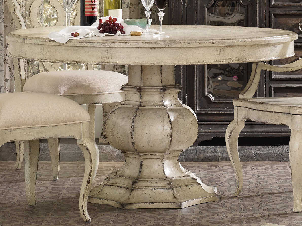Furniture Auberose Antique White 52 Wide Round Pedestal Dining Table