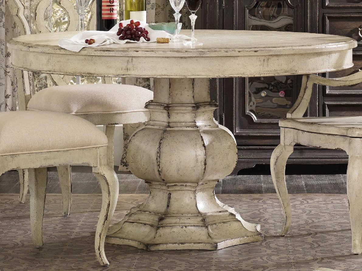 Hooker Furniture Auberose Antique White 52\'\' Wide Round Pedestal Dining  Table