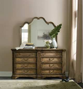 Hooker Furniture Auberose Warm Brown Double Dresser with Mirror