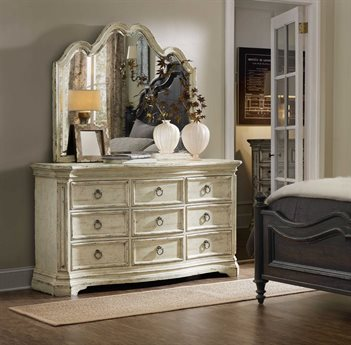 Hooker Furniture Auberose Antique White Triple Dresser with Wall Mirror