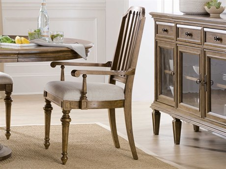 Hooker Furniture Ballantyne Napoli Linen / Medium Wood Arm Dining Chair (Sold in 2)