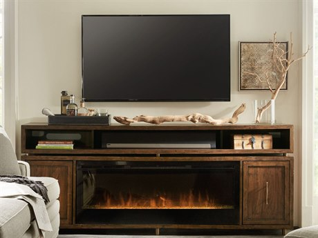 Hooker Furniture Big Sur Walnut 84''L x 18''W Rectangular Entertainment Console with Fireplace Insert HOO545355902MWD