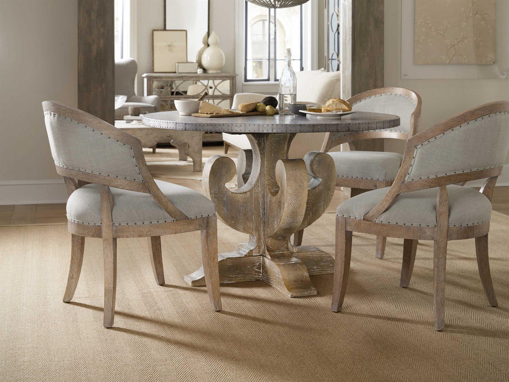 Hooker Furniture Boheme Zinc Light Wood 48 Wide Round Dining Table Hoo575075203slv