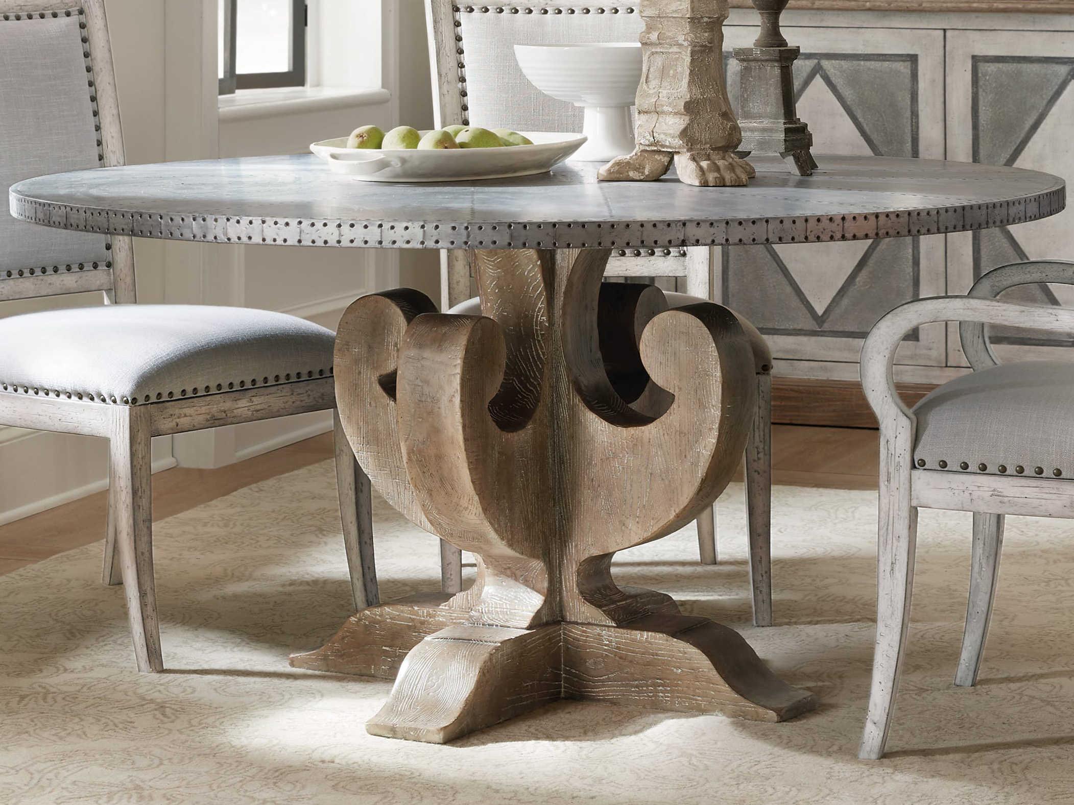 Hooker Furniture Boheme Zinc Light Wood 60 Wide Round Dining Table Hoo575075213slv