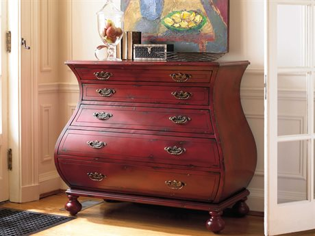 Hooker Furniture Red 44''W x 22''D Bombe Accent Chest