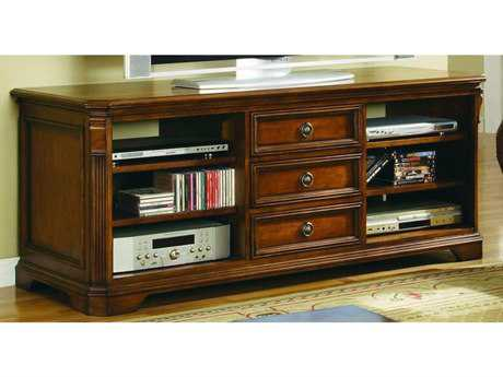 Hooker Furniture Brookhaven Distressed Medium Cherry 64''L x 23''W Rectangular Entertainment Console HOO28155458