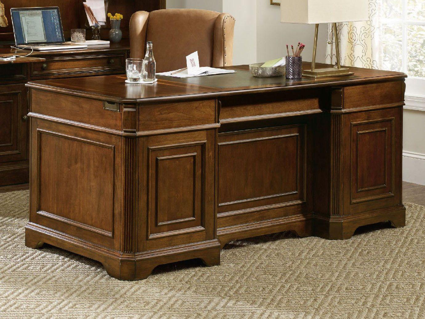 Hooker Furniture Brookhaven Distressed Medium Cherry 72 L X 34 W Rectangular Executive Desk