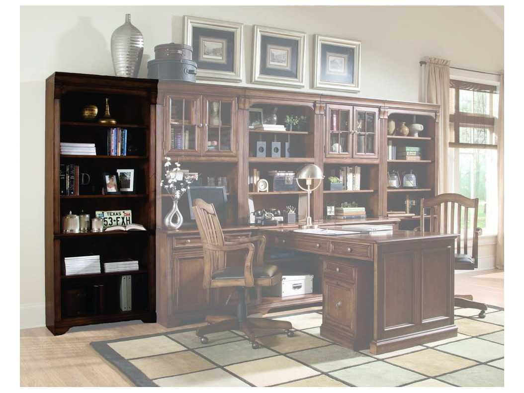 Hooker Furniture Brookhaven Lightly Distressed Medium Brown Tall Bookcase