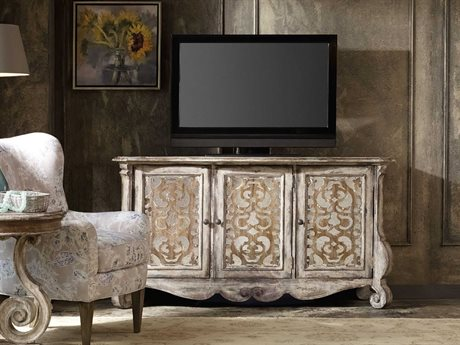 Hooker Furniture Chatelet Caramel Froth and Paris Vintage 68''L x 20''W Rectangular Entertainment Console
