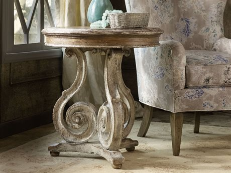 Hooker Furniture Chatelet Pecky Pan 26'' Wide Round Scroll Accent End Table HOO535150002