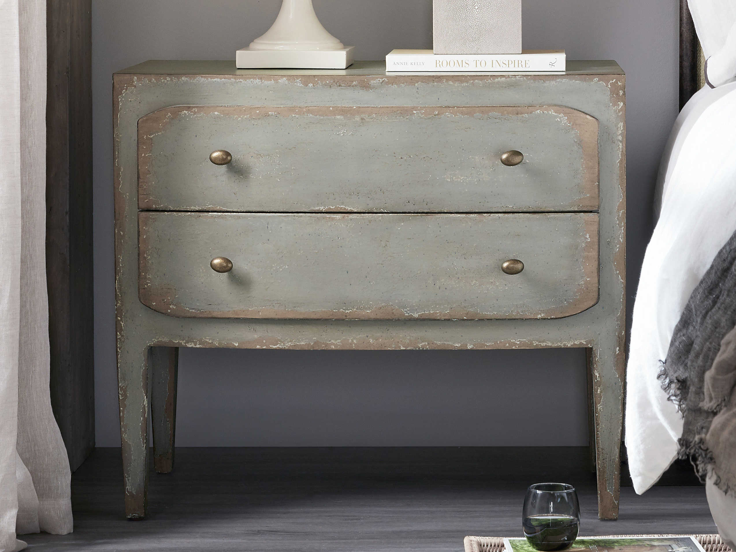 Hooker Furniture Ciao Bella Gray Two Drawer Nightstand Hoo58059001695
