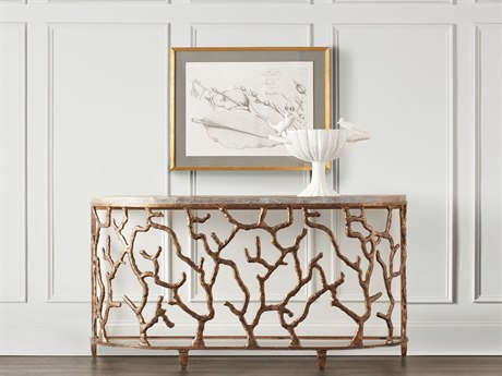 Hooker Furniture Coral Gold 62''L x 18''W Demilune Console Table HOO557785001GLD