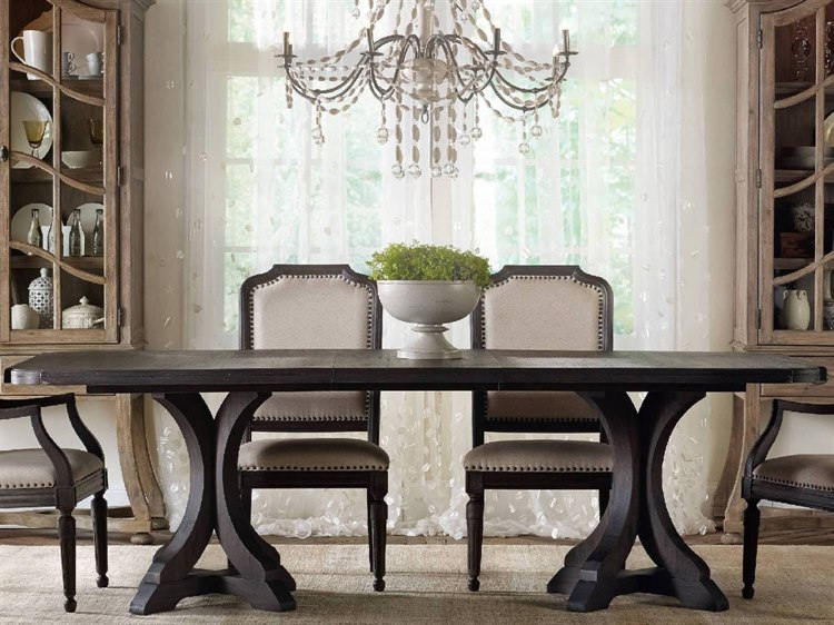 Hooker Furniture Corsica Dark Wood 78\'\'L x 44\'\'W Rectangular Pedestal  Dining Table