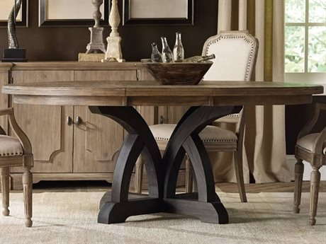 Hooker Furniture Corsica Dark & Light Wood 54'' Wide Round Dining Table with Extension HOO528075213