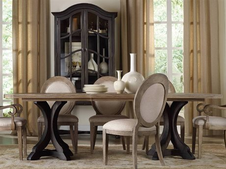 Hooker Furniture Corsica Dark Wood with Light Wood Top 78''L x 44''W Rectangular Pedestal Dining Table HOO528075216