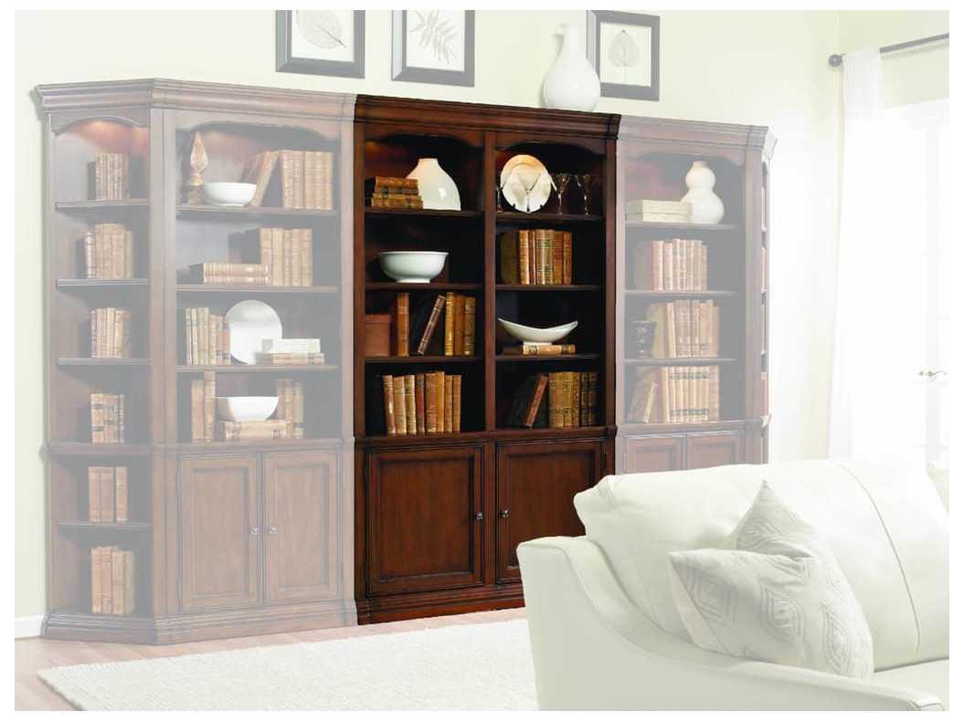Hooker Furniture Cherry Creek Lightly Distressed Medium Brown Wall Bookcase