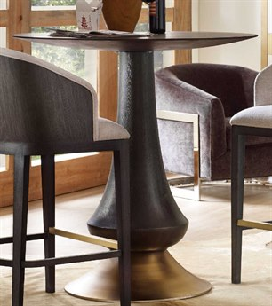 Hooker Furniture Curata Midnight with Brass 40'' Wide Round Bar Table