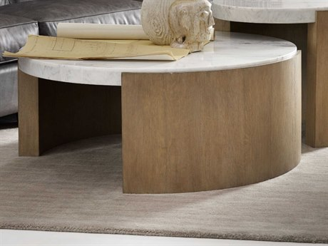 Hooker Furniture Curata White Marble with Stonewash 41'' Wide Round Cocktail Table HOO160080111WH1