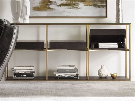 Hooker Furniture Curata Glass with Midnight & Bushed Brass 74''W x 14''D Rectangular Console Table HOO160085004DKW