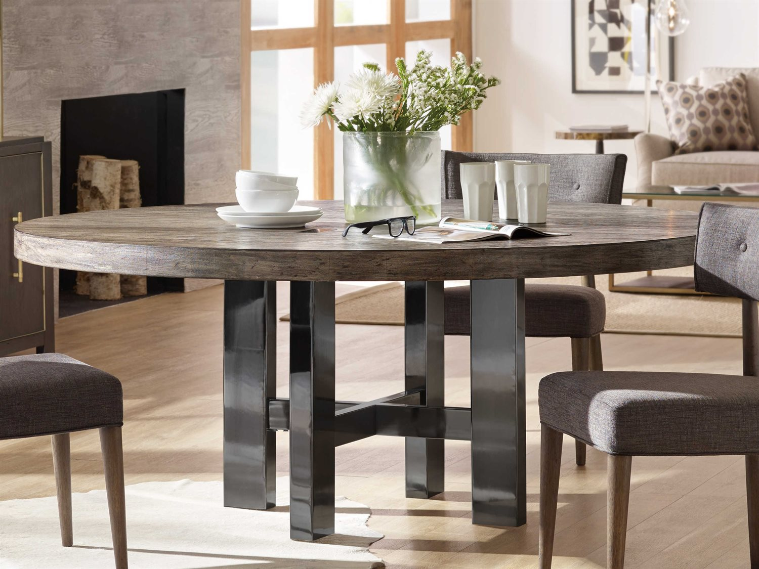 Furniture Curata Medium Greige With Black Nickel 72 Wide Round Dining Table