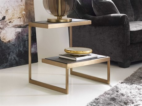 Hooker Furniture Curata Midnight with Brushed Brass 24''W x 22''D Rectangular End Table