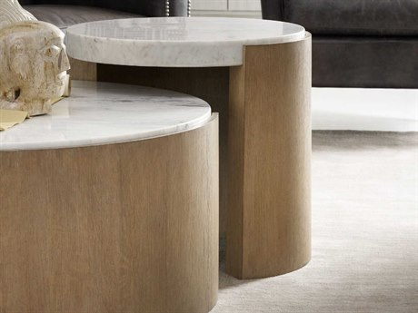 Hooker Furniture Curata White Marble with Stonewash 23'' Wide Round End Table HOO160080116WH1