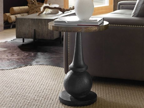 Hooker Furniture Curata Brass with Patina 18'' Wide Round Pedestal Table HOO160050003MTL