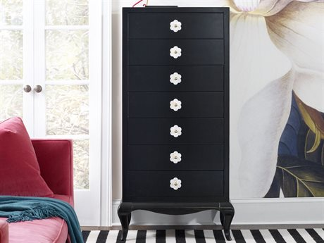 Hooker Furniture Cynthia Rowley Black with Mother of Pearl Inlay 38''W x 19''D Belle Semainier Chest of Drawers