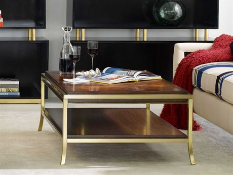 Hooker Furniture Cynthia Rowley Mozambique with Gold Plated 49''L x 33''W Rectangular Horizon Line Starbust Cocktail Table HOO158680110ABRN1