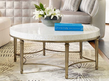 Hooker Furniture Cynthia Rowley Mother of Pearl with Champagne 42'' Wide Round Aura Cocktail Table with Shell Top