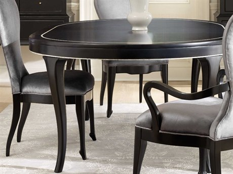 Hooker Furniture Cynthia Rowley Black 54'' - 74''L x 54''W Oval / Round Bloom Dining Table with 1-20 Inch Leaf
