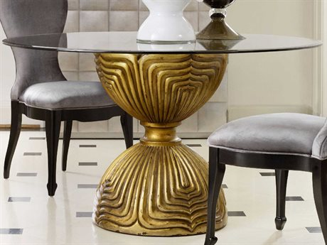 Hooker Furniture Cynthia Rowley Gold 60'' Wide Round Shangri-La Glided Dining Table HOO158675203GLD360