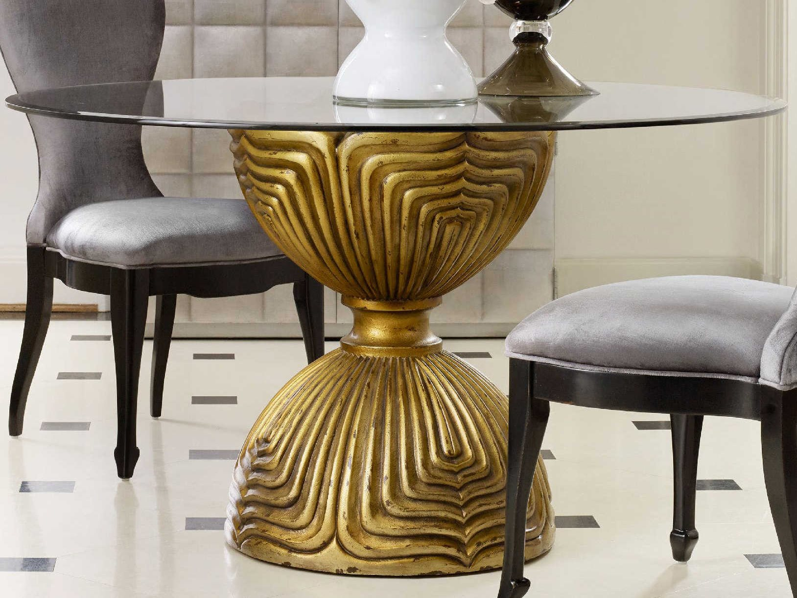 Furniture Cynthia Rowley Gold 60 Wide Round Shangri La Glided Dining Table
