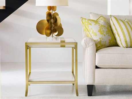 Hooker Furniture Cynthia Rowley White with Gold Leaf 22''L x 26''W Rectangular Side Stripe End Table HOO158680113AWH3