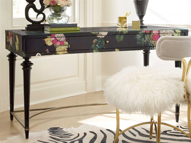 Hooker Furniture Cynthia Rowley Black 56 L X 28 W Fleur De Glee Rectangular Writing Desk