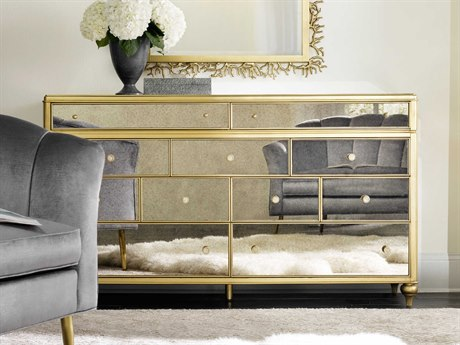 Hooker Furniture Cynthia Rowley Gold with Antique Mirror Bewitch Nine-Drawer Triple Dresser HOO158690002AGLD1